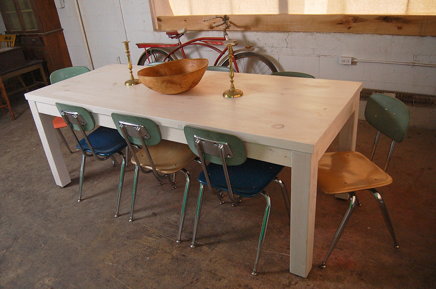 Farm Table White Washed Old Board Parson Style by LorimerWorkshop