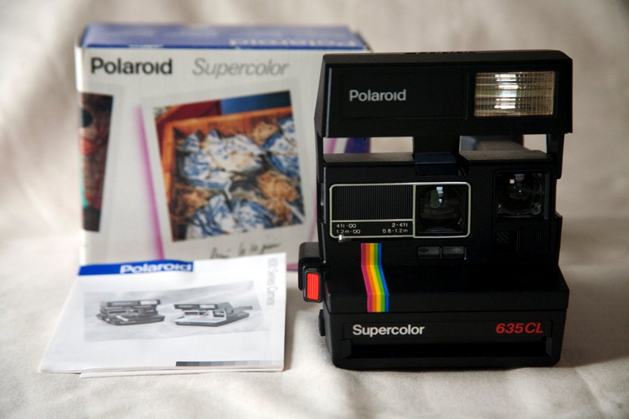 vintage black polaroid supercolor 635cl camera with by manycams. Black Bedroom Furniture Sets. Home Design Ideas