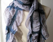 Nuno Felt Scarf - Ruffle - Variegated Blue Merino Wool on  Silver Gray Silk 853