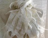 Merino Wool and Silk Nuno Felt Lattice Scarf  - Antique Wedding White 1122