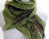 Green Scarf - Nuno Felt Ruffle - Burgundy Brown and Green Merino Wool on Green Silk 1014