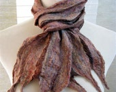 Brown Felted Silk Scarf,  Nuno Felt Scarf, Womens Accessories, Scarves, Handmade, Gifts for Her   Wool and Silk Stripe Scarf -  1047