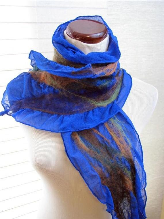 Blue Scarf, Nuno Felted Silk Scarf, Ruffle Scarf, Handmade, Gifts for Her, Orange Brown Blue and Green Wool and Silk Scarf 954