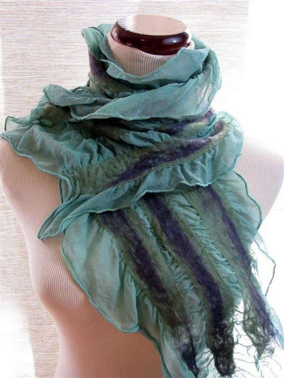 Green Scarf - Nuno Felted Scarves -  Purple and Green Wool on Dusty Green Silk 1016- Free Shipping Etsy
