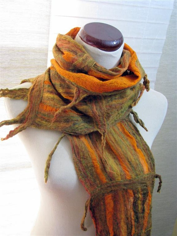 Nuno Felted Scarves - Silk Scarf  - Yellow Brown Orange and Green Merino Wool and Silk Lattice  -  1068