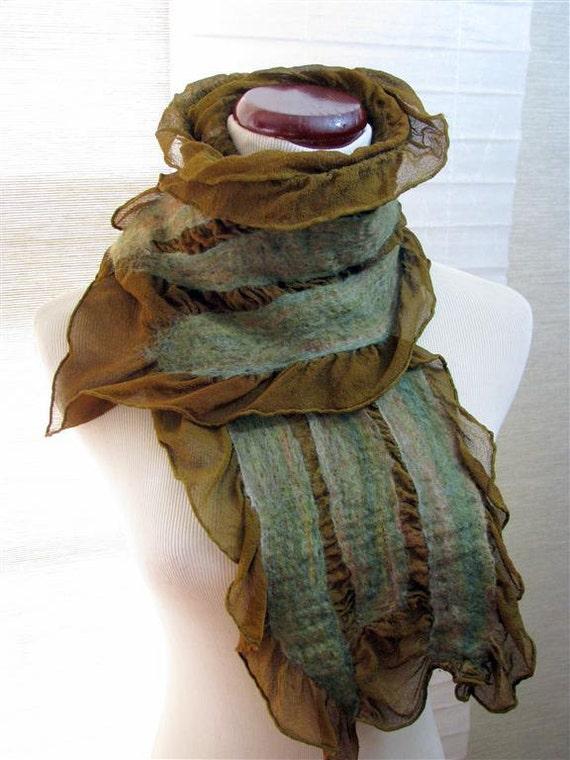 Green Scarf - Nuno Felt Ruffle - Mossy Green Merino Wool on Green Silk 1072- Free Shipping Etsy