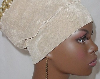 Natural Hair Accessories-Crown-Wrap-Locs-Deadlocks-Khaki Tan