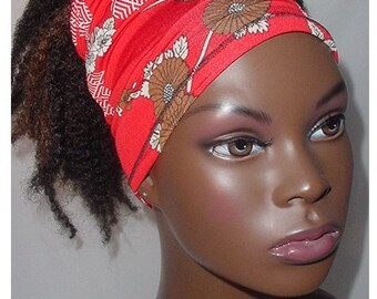 Natural Hair Accessories-Headband-Tube-Locs-Red-Brown-White-Floral