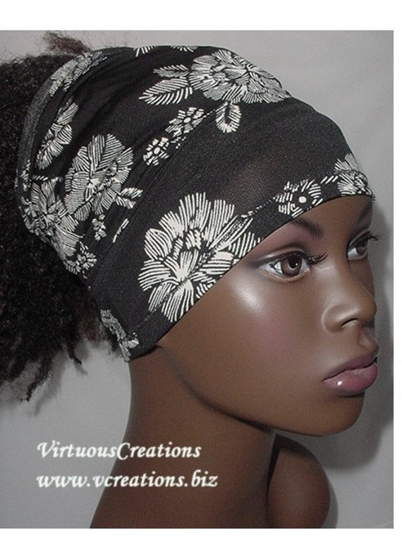 Natural Hair Accessories-Headband-tube-Dreadlocks-Black & Ivory Floral-1