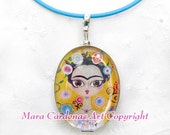 Sweet Frida, Blue Frida, Silver Necklace