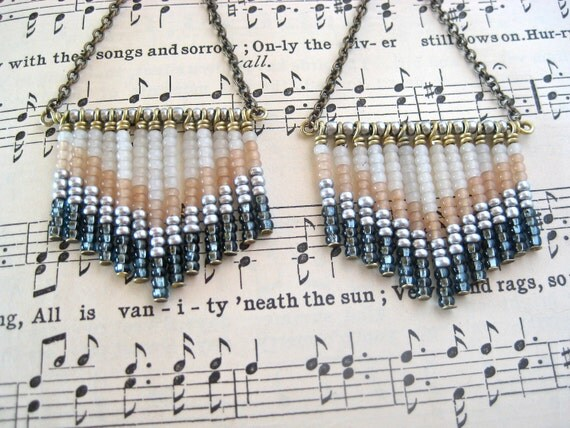 Free Shipping - After Midnight Chevron Seed Bead Earrings - Gunmetal, Silver, Nude