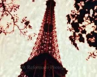 Eiffel Tower in Paris France Polaroid SX-70 Manipulation -  8x8 Fine Art Photograph