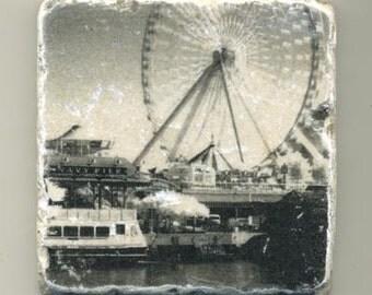 Navy Pier Chicago in Infrared - Original Coaster