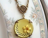 Vintage  Button Necklace - Butter