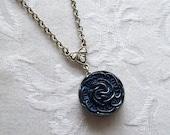 Navy Blue Blossom, Vintage German Glass Button Necklace
