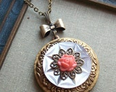 1/2 Price Sale- Antique Mother of Pearl Button Locket Necklace- Buttons and Bows
