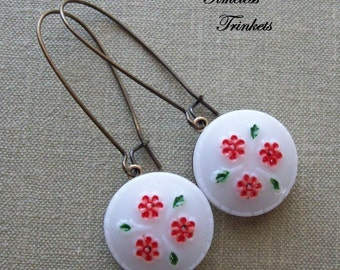 Vintage Glass Button Earrings- Little Red Flowers