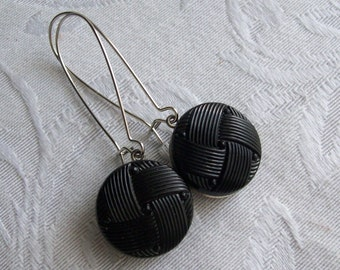 Licorice Twist, Vintage Glass Button Earrings