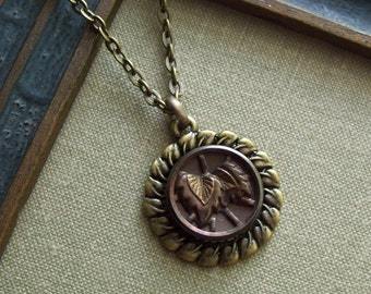 1/2 Price Sale-Brown Bamboo, Antique(1800's) Picture Button Necklace