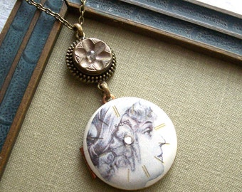 75% Off Clearance Sale-Juliet, Steampunk Locket Necklace with Antique Button, One of a Kind