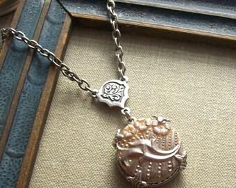 Floral Cornucopia, Antique Glass Button Necklace