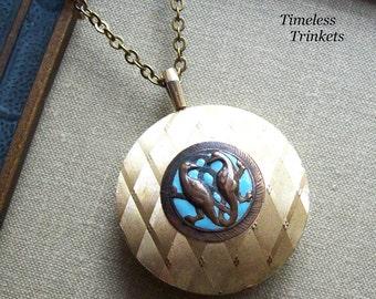 Steampunk Clearance Sale- Antique Enamel Button Necklace with Vintage Watch Case- Mythical Creature- Basilisk