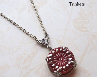 Candy Apple Red, Vintage Glass Button Necklace