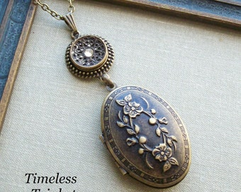 Antique Button with Embossed Locket Necklace-Queen Anne's Lace