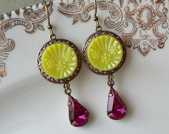 Vintage Glass Button Earrings- Raspberry Lemonade
