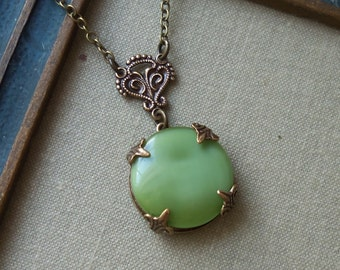 Moss, Vintage Glass Button Necklace