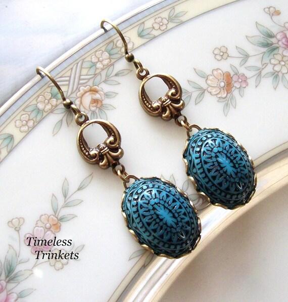 Vintage Button Earrings- Cerulean Blue Batik