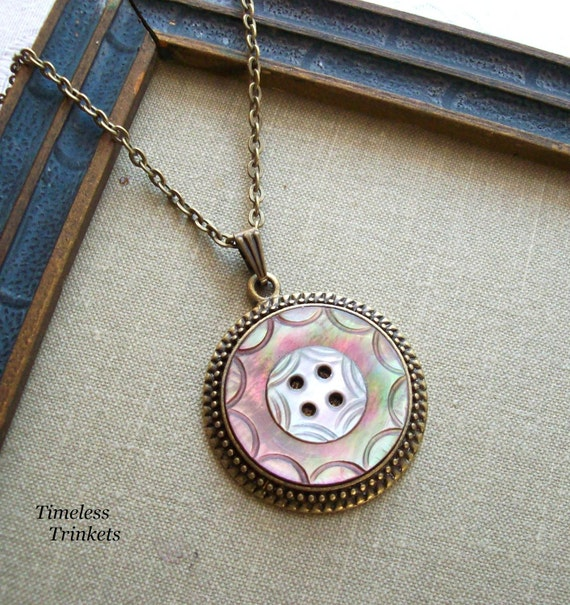 Midnight Sun, Antique Mother of Pearl Button Necklace