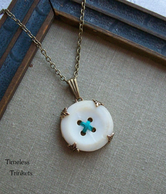 Antique Mother of Pearl Button Necklace, Hugs and Kisses- Teal Blue