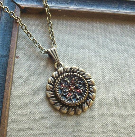 Victorian Antique Button Necklace, Byzantine