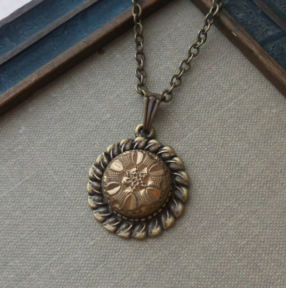 Antique Victorian Button Necklace- The Midas Flower