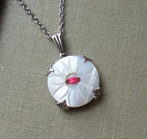 Antique Mother of Pearl Button Necklace, Daisy- Salmon Pink