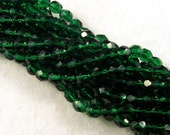 6mm Emerald Green Firepolish Czech Beads (50)