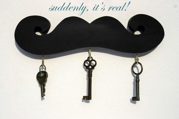 The HALF PINT Mustache Key Hook in BLACK