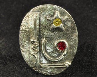All That Jazz...Fine Silver Pendant with Red and Yellow CZs