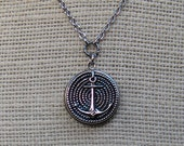 Silver Nautical Boat Ship Anchor . Locket Necklace . Vintage Picture Button . Jewelry By envisage