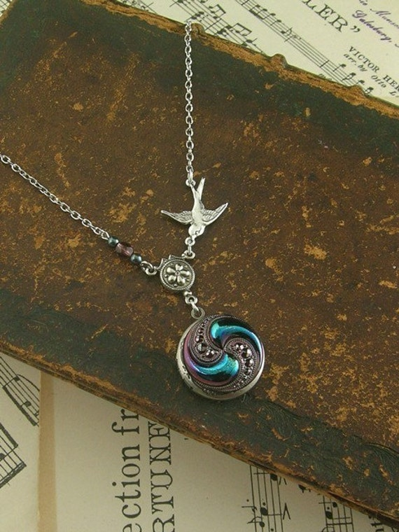 Silver Locket Necklace - Vintage Glass Button -  Blue Bird - Jewelry By envisage