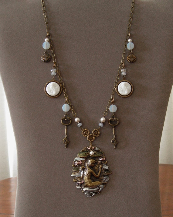Mermaid Charm Necklace . Enamel Stamping . Vintage Glass Buttons . Jewelry By envisage