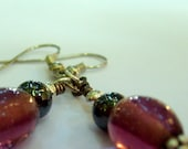 Earrings Beaded Plum Purple Silver Plated - Professor Plum's earrings