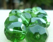 10 Multifaceted Green Glass Beads