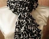 Black and White Chenille Hand Knit Scarf