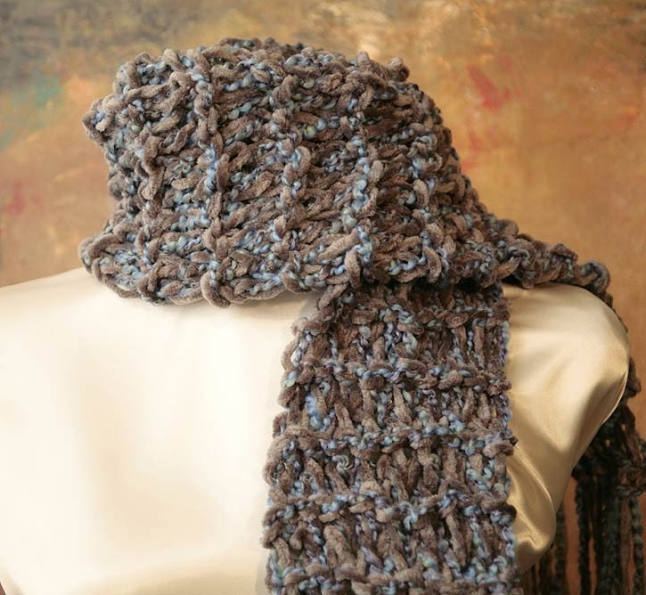 Mens Blue Gray Chenille Hand Knit Scarf by bluebirdsandblossoms Hand Knitted Men's Scarves
