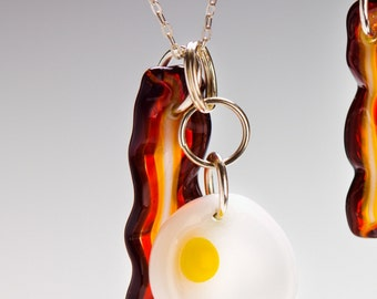 Glass Bacon and Egg Pendant