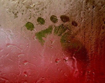 RAINY DAY Handprint Footprint - BLANK 5 X 7 NOTECARD frameable Art Photo with FREE Origami Crane