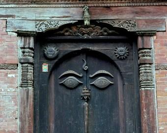 Buddha Eyes on Bhaktipur NEPAL Wooden Door - BLANK 5 X 7 NOTECARD frameable Art Photo with Free Origami Crane - Stationery Note