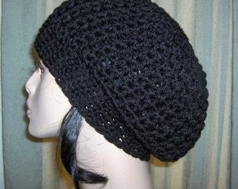 Womens Slouchy Tam Hat Black Womens Slouchy Hat Tam Black